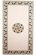"""54"""" x 32""""  Decorative White Marble Center Table Top Floral Inlay Work"""