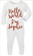 Hello World Im Name Personalsied Sleepsuit, Newborn Photography