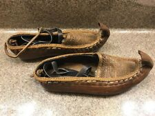 Turkish Hand made Leather Slippers Shoes with ankle straps woven tooled Sz 35