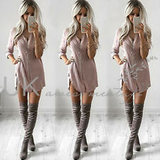 UK Womens Plain Shirt Dress Ladies Long Sleeve Boyfriend Shirt Dress Size 6 - 14