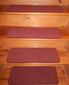 15  Step  9'' x 26''  Tufted carpet 100% Wool Woven Stair Treads .