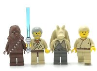 LEGO LOT OF 4 STAR WARS MINIFIGURES CHEWBACCA LUKE SKYWALKER JEDI OBI WAN FIGS