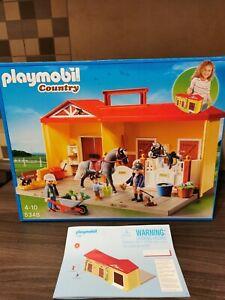 Playmobil 5348 Pferdestall zum mitnehmen + 5291 Mädchen beim Pony