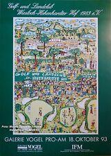 James Rizzi Golfturnier-Plakat/-Poster'93 STROKES OF GENIUS 68x98cm! Inkl.Porto!
