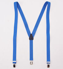 New FUMAGALLI 1891 Bright Blue Stretch Canvas Clip-On Suspenders Braces