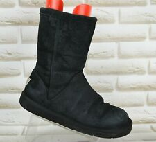 UGG Roslynn Womens Black Leather Mid Outdoor Boots Winter Shoe Size 5.5 UK 38 EU