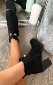 Womens Ladies Low Mid Block Heel Chelsea Ankle Boot Embellished Black Faux Suede