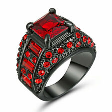 Size 6 Black Wedding Engagement Ring Red Crystal Cluster Cocktail Party Jewelry