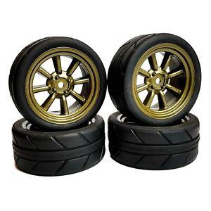 1/10 RC Road 8 Spoke Wheels and Tyres Pewter Grey Tamiya TT02 TT01 MF01X Escort