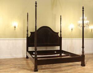 Four Poster King Bed, Dark Wood King Bed Frame, Designer-Grade Bed