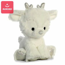 """AURORA Cuddly Reindeer Fawn White Plush Toy, Antlers & Hooves Pearl Silver 8"""""""