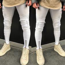 Men's Ripped Skinny Biker Jeans Destroyed Frayed Slim Fit Skinny Denim Pants UK
