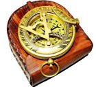 BRASS ANTIQUE STYLE BRASS POCKET COMPASS PUSH BUTTON SUNDIAL LEATHER CASE STYLE