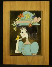 Edith Meyer Enamel Copper Cloisonne Style Art Summer Girl Wood Frame Signed