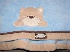 BLANKETS & AND BEYOND BABY BOY BLUE BROWN TAN BEIGE TRIM EDGE TEDDY BEAR CRINKLE