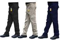 Mens Cargo Combat Work Trousers Size 28 to 56 Black Navy Khaki & Brown