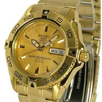 SEIKO 5 SNZB26J1 SNZB26 Automatic 23 Jewels Gold Dial Stainless Steel Men Watch