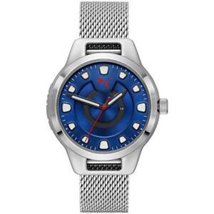 Orologio Uomo PUMA RESET P5005 Bracciale Acciaio Mesh Blu Maglia Milanese