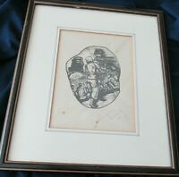 Teng Original Woodcut Malaysian artist Signed Framed Purchased in 1980 Penang