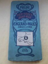 Vintage Philips' Ten-Sheet Road Map Of England & Wales -Cloth Edition