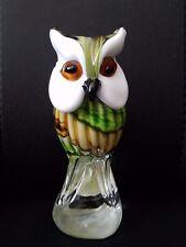 """CRISTALLERIA MURANO D'ARTE MINCHELLA GLASS GREEN  6 1/4"""" OWL FIGURINE"""