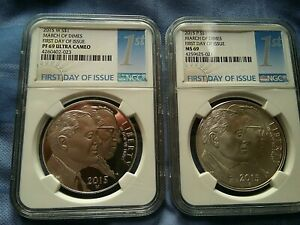 "2015 W & 2015 P MARCH OF DIMES S $1 ""FIRST DAY OF ISSUE"" PF 69 UC & MS 69 NGC"