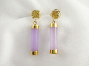 Asian 14k Yellow Gold Lavender Jade Cylinder Tube Dangle Pierced Earrings 1 1/8