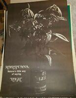 MARIJUANA HIGH 1970's VINTAGE BLACK WHITE NOS POSTER POT WEED 420 -NICE!