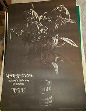 MARIJUANA HIGH 1970's VINTAGE BLACK WHITE NOS POSTER POT WEED 420