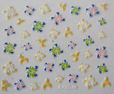 Accessoire ongles : nail art - Stickers autocollants, motifs fleurs mulitcolores