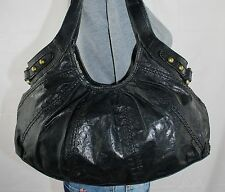 FOSSIL Black Medium Leather Shoulder Hobo Tote Satchel Slouch Purse Bag