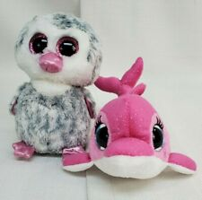 """Lot 2 Ty Beanie Boos Olive Gray Owl Surf Pink Whale 6.5"""" Sparkly Eyes"""