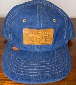 Vintage Rare Levi's Denim Hat Cap Leather Patch Orange Tab Snapback
