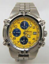 Mens SEIKO Chronograph 7T32-6K19 Yellow Dial Stainless Steel Quartz Watch