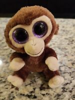 "TY BEANIE BOO Coconut Monkey 5.5"" Plush  Purple Eyes 2017 USED FREE SHIP"