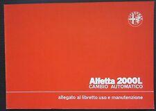 1981 ALFA ROMEO ALFETTA 2000 L cambio automatico allegato uso manutenzione