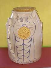 Fork Art Hand Made Cat Cookie Jar, Food Waist Jar By Double Creek Pottery