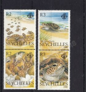 SEYCHELLES MNH STAMP SET 1988 THE GREEN TURTLE SG 687-690