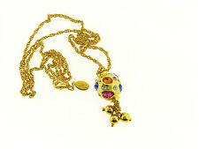Joan River Rare Gold Multi Color Crystal Scatter Bead Tassel Drop Necklace