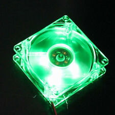 12V 4Pin Green LED PC Computer Cooling Cooler Case Fan 8cm 80mm 80x80x25mm