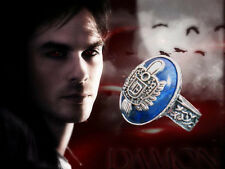 Boxed Silver Plt. Faux Lapis Vampire Diaries Damon Sun Crest Protection Ring sz8