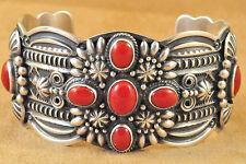 Handmade Navajo Sterling Silver Cuff Bracelet Mediterranean Coral Darrell Cadman