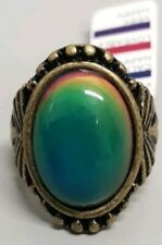 OVAL MOOD RING BOHEMIAN CHANGING COLORS SIZES 7-9 ANTIQUE BRASS RAVE RETRO