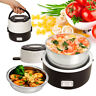 Portable 2 Layer Electric Lunch Box Steamer Pot Rice Cooker Stainless Steel 1.3L