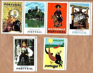 SET of 6 vtg CINDERELLA Poster STAMP Sheet / Vinheta Portugal Tourism NAZARE