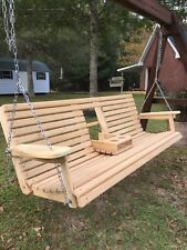 6 Ft Cypress Porch Swing with Flip Down Cup Holders - Handmade in Louisiana