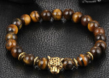 Men Fashion Tiger Eye Stone Gold Jaguar Beaded Cuff Charm Bangle Bracelets