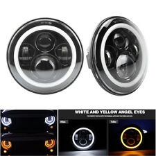 "7"" 50W/30W H4 H13 Round Headlights with Yellow&White Angel Eye for Jeep Wrangler"