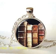New Vintage Books Photo Tibetan silver Glass Chain Pendant Necklace Y27.@