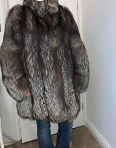 Real silver fox fur coat full farmed pelts jacket size UK12 US8EU40